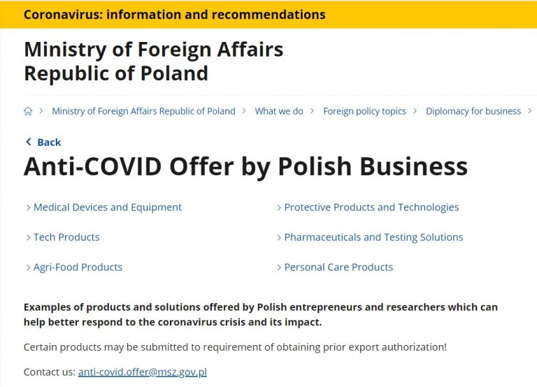 Anti-COVID Offer by Polish Business
